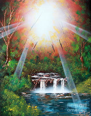 Poster featuring the painting Sunbeam Falls by Greg Moores