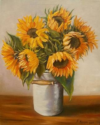 Poster featuring the painting Sunflowers by Nina Mitkova