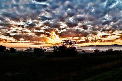 Sunrise Over Fields Poster