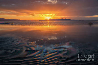 Poster featuring the photograph Sunset And Sand Ripples by Spencer Baugh