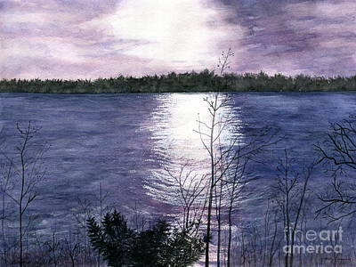 Poster featuring the painting Sunset At Niagara River New York by Melly Terpening