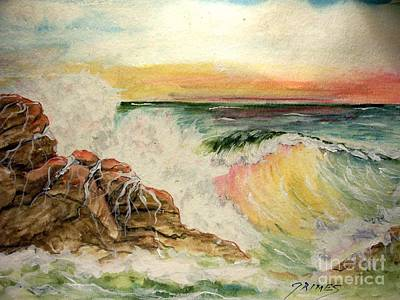 Poster featuring the painting Sunset At Sea by Carol Grimes