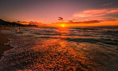 Sunset Beach Poster by RC Pics