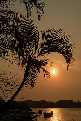 sunset Huong river Poster