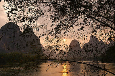 Sunset On The Li River Poster