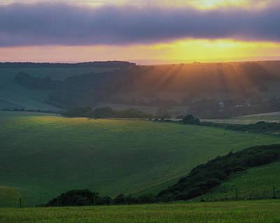 Sunset Over The South Downs Poster