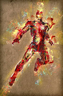Superhero. Iron Man. Poster by Elena Kosvincheva