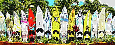 Surfboards In Paia Maui Hawaii Poster by ELITE IMAGE photography By Chad McDermott