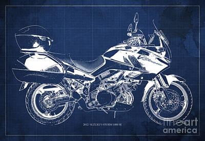 Suzuki V-strom 1000 Se 2012 Original Blueprint Motorcycle Wall Art For Men Office Poster
