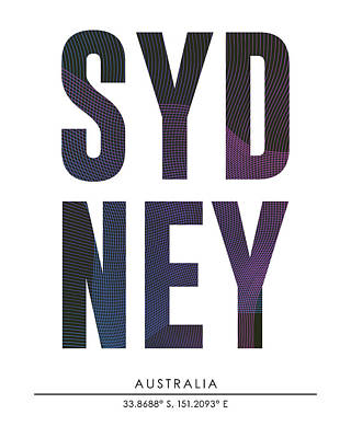 Sydney City Print With Coordinates Poster