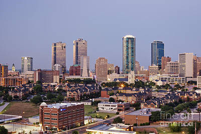 Tall Buildings In Fort Worth At Dusk Poster
