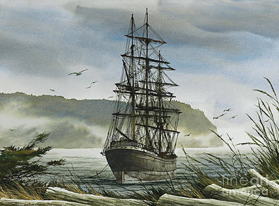 Poster featuring the painting Tall Ship Cove by James Williamson