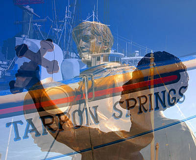 Poster featuring the photograph Tarpon Springs Florida Mash Up by David Lee Thompson