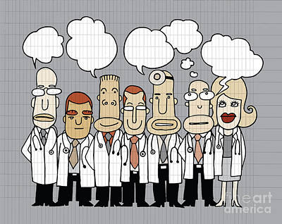 Team Of  Doctors Stand And Talk In Speech Bubbles  Poster