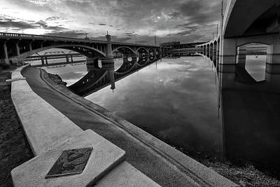 Tempe Town Lake In Black And White Poster