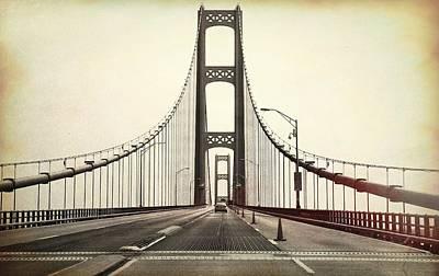 Textured Mackinac Bridge Poster by Dan Sproul
