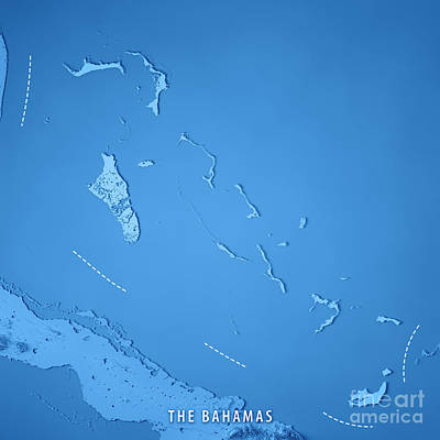 The Bahamas 3d Render Topographic Map Poster