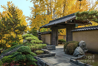 The Beautiful Fall Colors Of The Japanese Gardens Poster by Jamie Pham