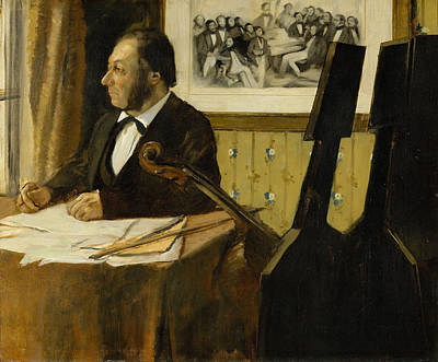 The Cellist Pilet Poster by Edgar Degas