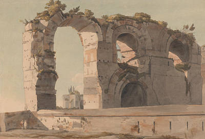 The Claudian Aquaduct, Rome Poster by Francis Towne