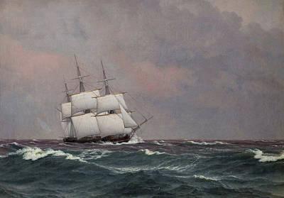The Corvette Najaden In Rough Seas Poster by Christoffer Wilhelm Eckersberg