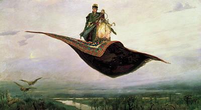 The Flying Carpet At Magic Carpet Poster by Viktor Vasnetsov