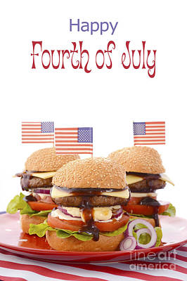 The Great Bbq Hamburger With Flags Poster by Milleflore Images