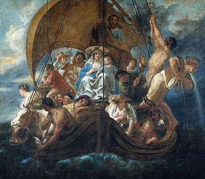 The Holy Family With Various Persons And Animals In A Boat Poster by Jacob Jordaens