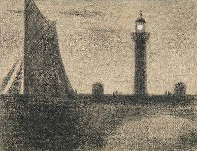 The Lighthouse At Honfleur Poster by Georges-Pierre Seurat
