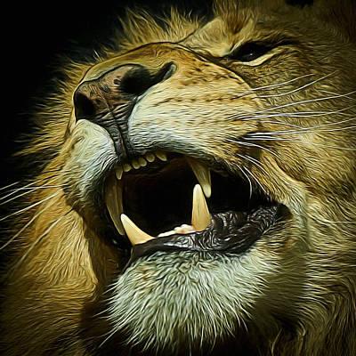 The Lion Digital Art Poster by Ernie Echols