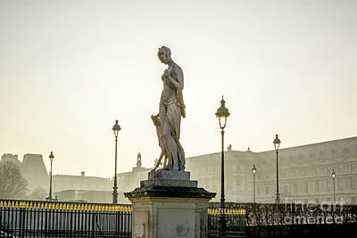 The Louvre Seen From The Garden Of The Tuileries. Paris. France. Europe. Poster by Bernard Jaubert