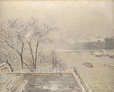 The Louvre Under Snow Poster by Camille Pissarro