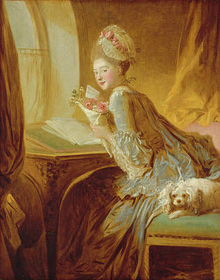 Poster featuring the painting The Love Letter by Jean Honore Fragonard