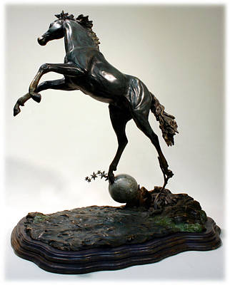 Poster featuring the sculpture The Moonhorse Bronze  by Dawn Senior-Trask