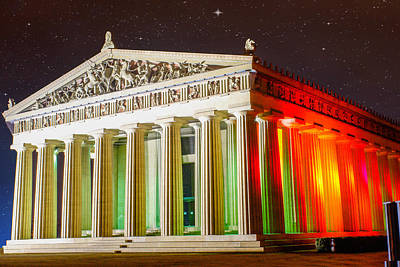 The  Parthenon Under The Stars Poster