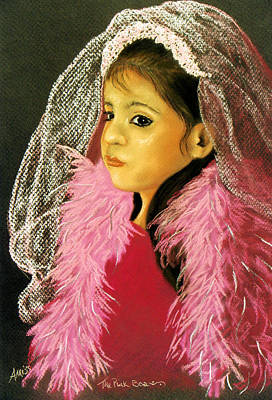 Poster featuring the pastel The Pink Boa by Jan Amiss