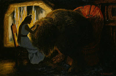 The Princess Picking Lice From The Troll Poster by Theodor Kittelsen