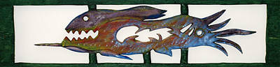 Poster featuring the mixed media The Prozak Fish by Robert Margetts