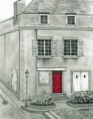 The Red French Door Poster by Mary Tuomi