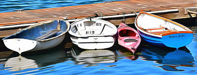 The Red Kayak Morro Bay California Painting Poster by Barbara Snyder