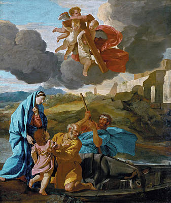 The Return Of The Holy Family From Egypt Poster by Nicolas Poussin