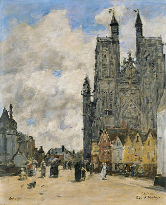 The Square Of The Church Of Saint Vulfran In Abbeville Poster by Eugene Boudin