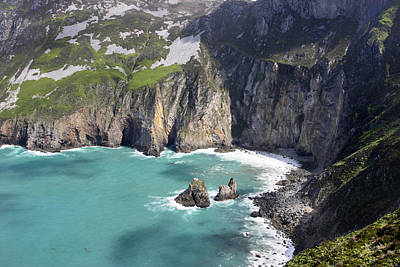 The Turquoise Water At Slieve League Sea Cliffs Donegal Ireland  Poster
