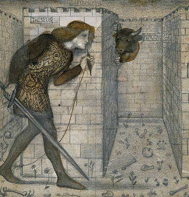 Theseus And The Minotaur In The Labyrinth Poster by Edward Burne-Jones