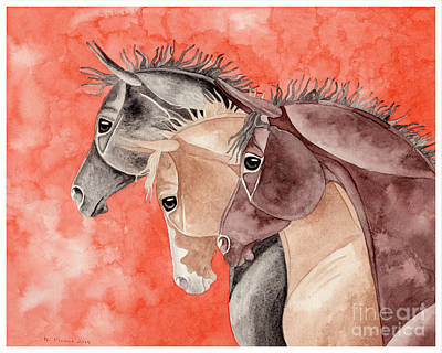 Three Horses On Orange Poster by Suzanne Joyner