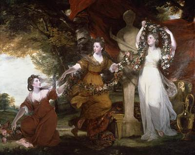 Three Ladies Adorning A Term Of Hymen, Poster by Joshua Reynolds