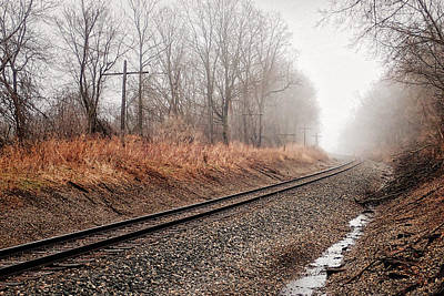 Poster featuring the photograph Tracks In Morning Fog by Lars Lentz