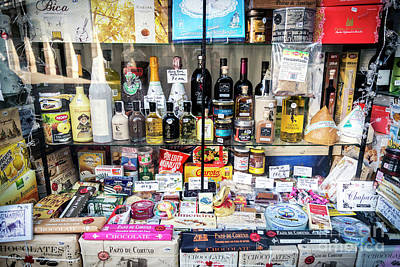 Traditional Spanish Deli Food Shop Display In Santiago De Compos Poster