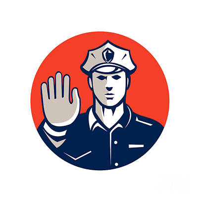 Traffic Policeman Hand Stop Sign Circle Retro Poster