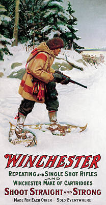 Poster featuring the painting Trapper With Wolves by Philip R Goodwin